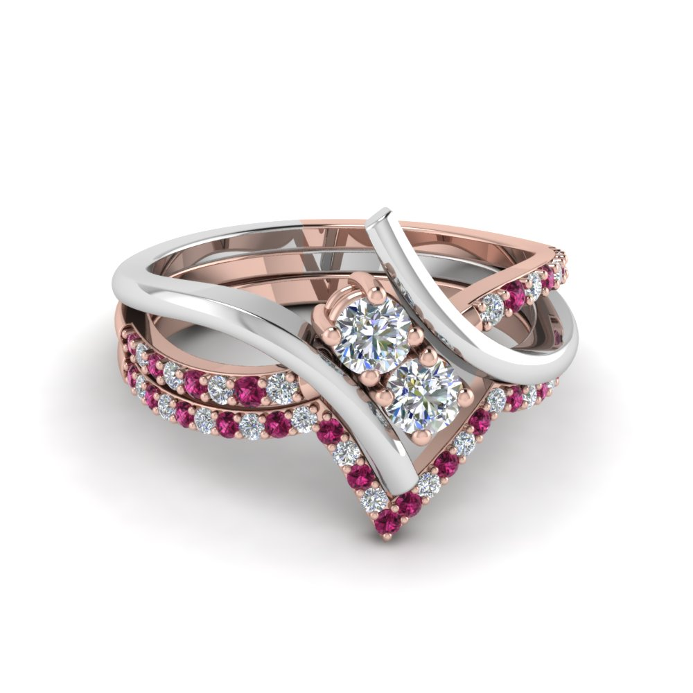 Pink Sapphire 2 Tone Ring And Band