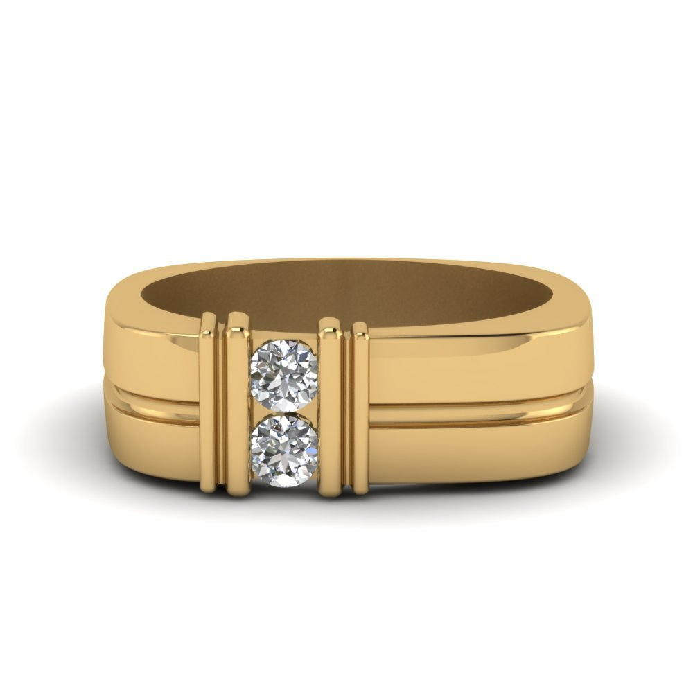 Two Stone Diamond Comfort Fit Band