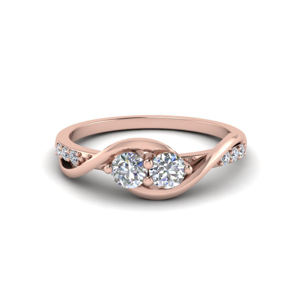 Two Stone Diamond Swirl Engagement Ring In 18K Rose Gold