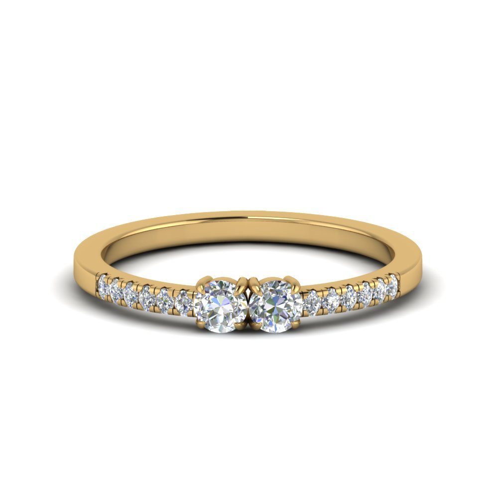Two Stone Round Diamond Accented Ring