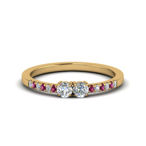 2 Stone Pink Sapphire Ring
