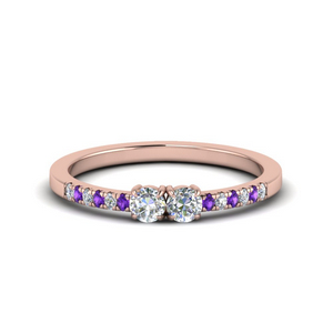 Cheap 2 Stone Purple Topaz Ring For Her