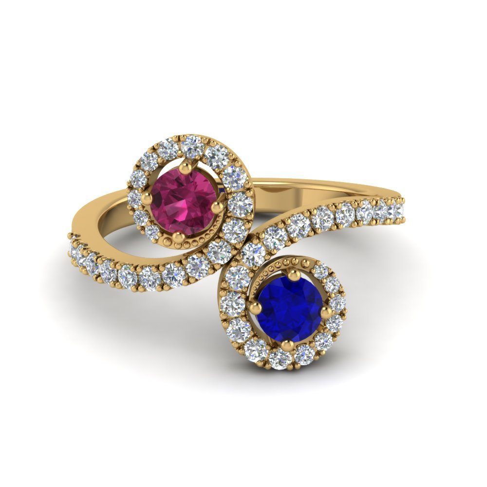 Two Stone Sapphire Swirl Halo Ring