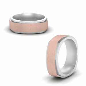 Two Tone Brushed Comfort Fit Band In 14K White Gold