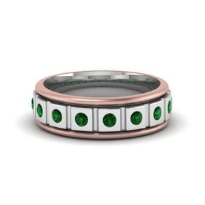 Two Tone Mens Band With Emerald