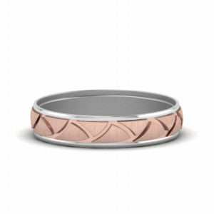Two Tone Engraved Wedding Ring