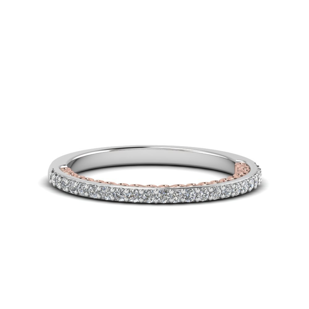 Two Tone Filigree Delicate Diamond Band