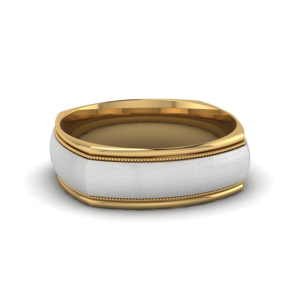 Two Tone Slightly Domed Wedding Band