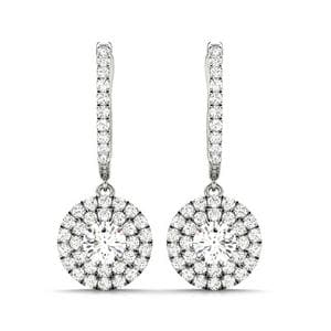 2 Tone Hoop Drop Diamond Earrings