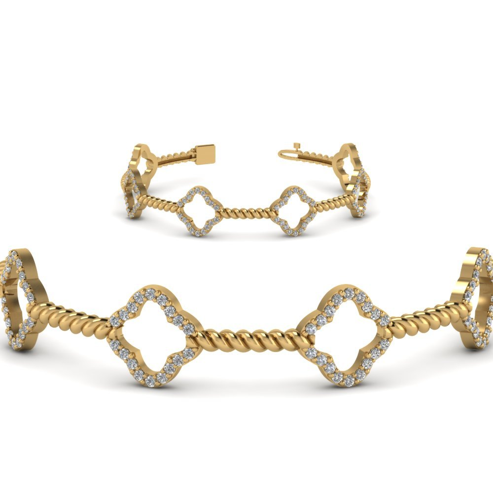 Twist Diamond Bracelet For Women In 14K Yellow Gold
