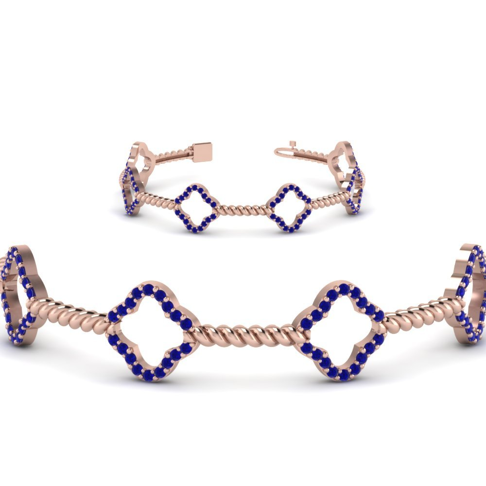 Twist Gold Gemstone Bracelet For Women With Blue Sapphire In 14K Rose Gold