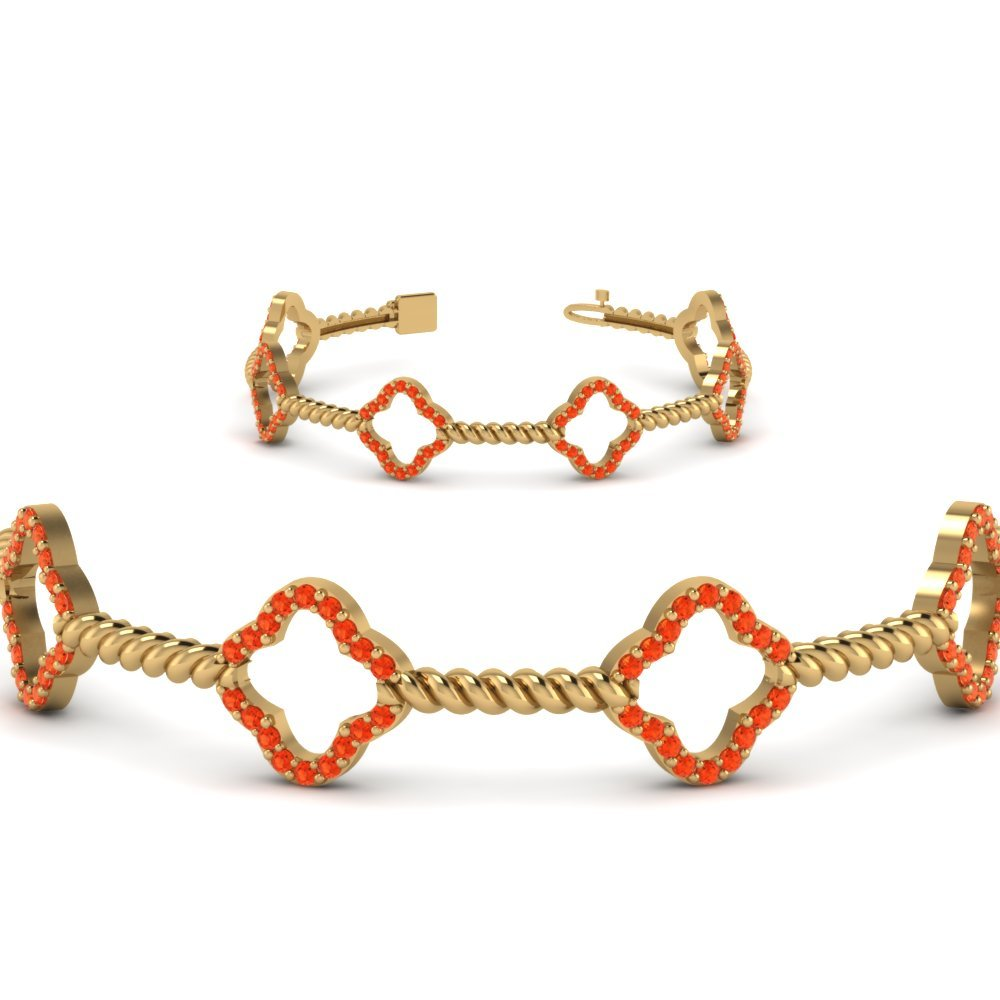 Twist Orange Topaz Bracelet For Women