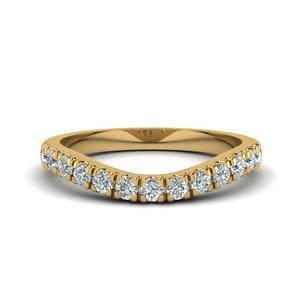 U Prong Diamond Contour Wedding Band In 14K Yellow Gold