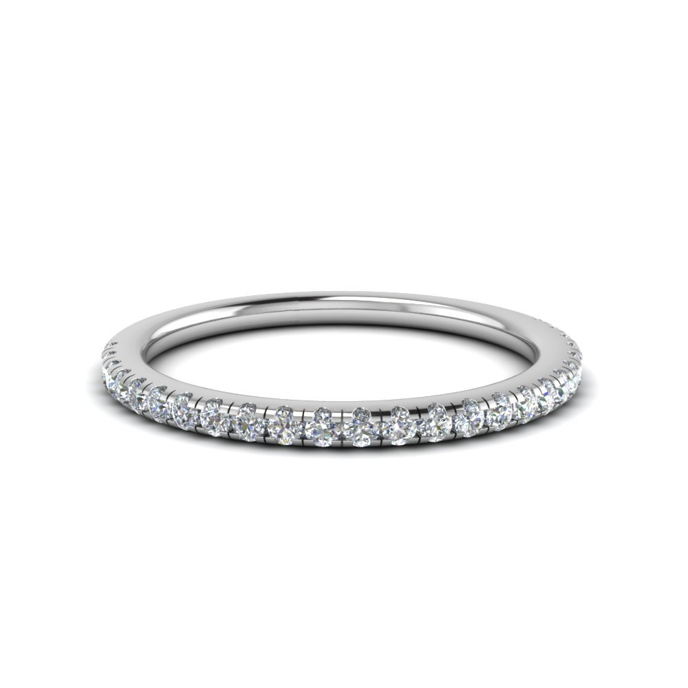 0.25 Carat Diamond U Prong Wedding Band In 14K White Gold