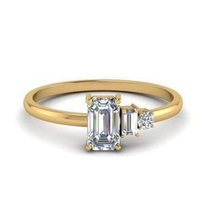 Unconventional Diamond Engagement Ring For Women In 14K Yellow Gold