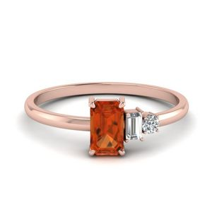 Unconventional Orange Sapphire Ring