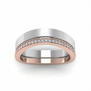 Unique 2 Tone Band With Diamonds
