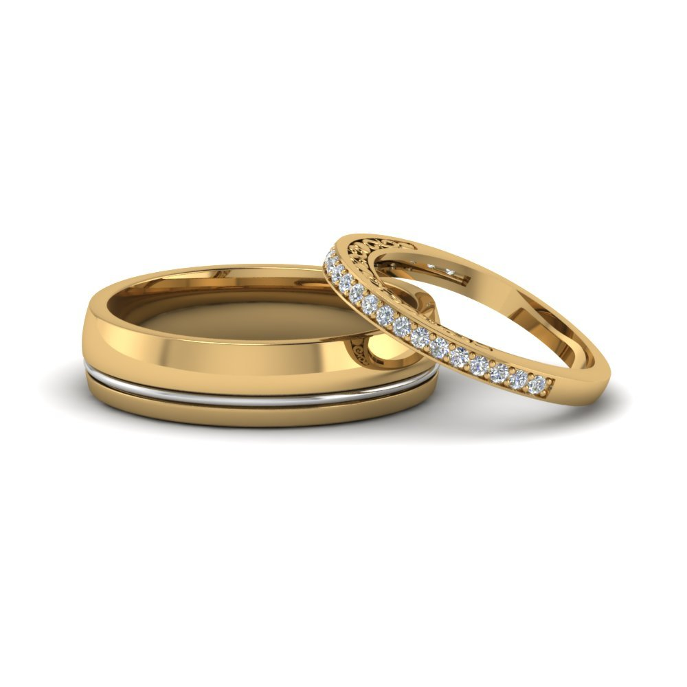 Wedding Rings For Her: Round Cut Daimond Trio Matching Wedding Set For Him And