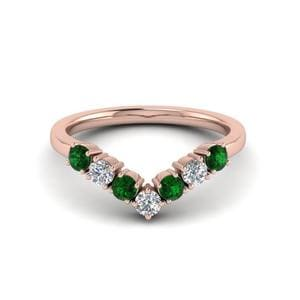 V Design Emerald Wedding Band