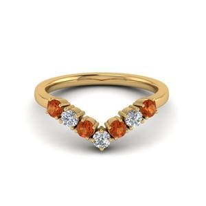 Orange Sapphire Wedding Band