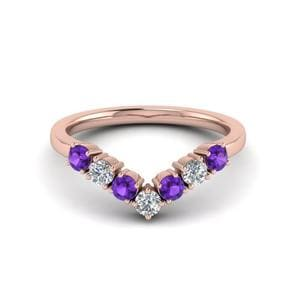 Purple Topaz V Design Band