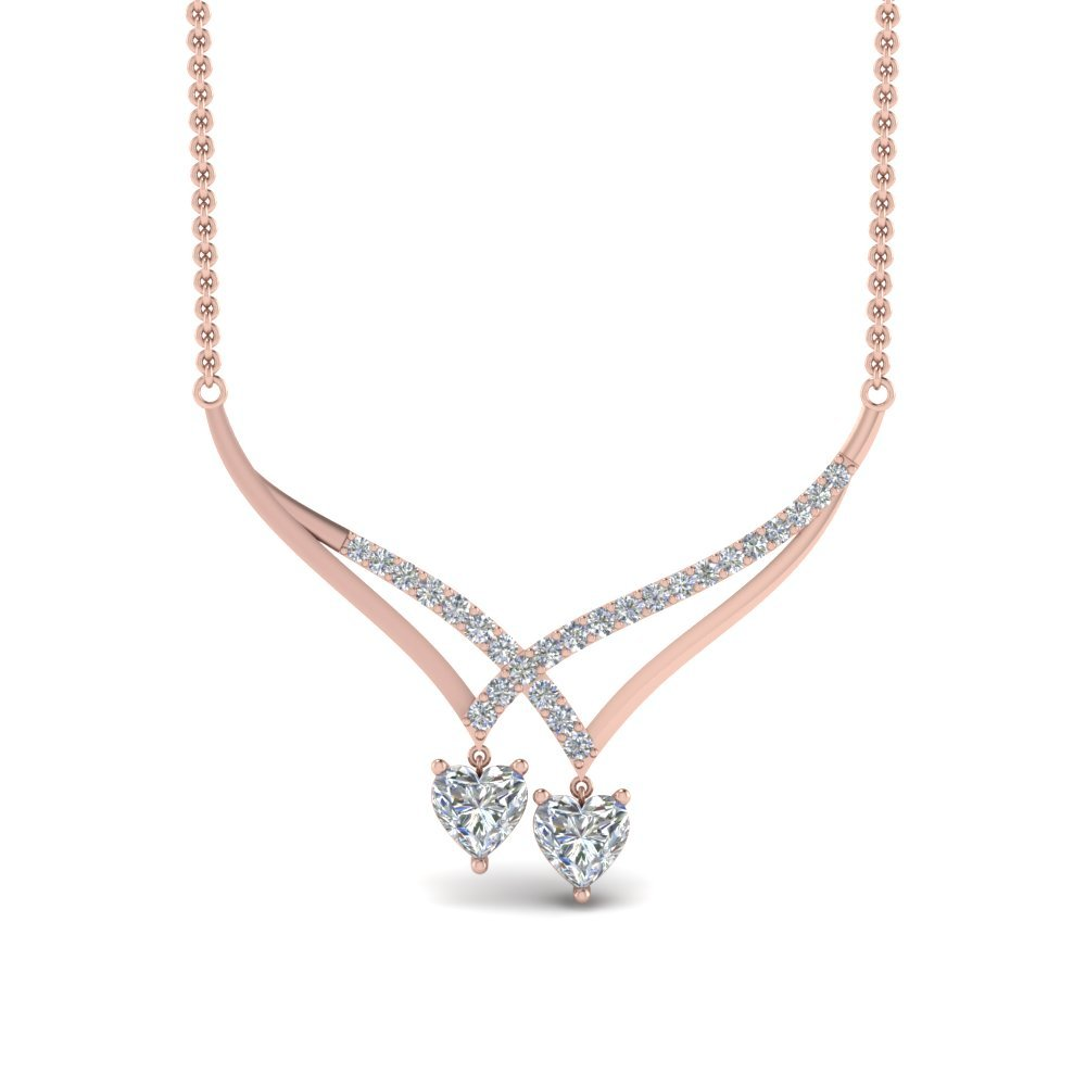 V Design Diamond Dual Drop Necklace In 14K Rose Gold