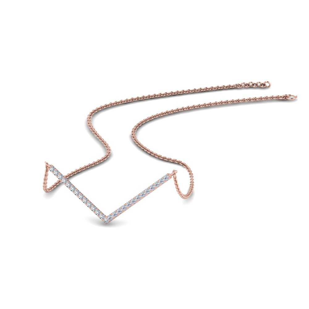 V Shaped Diamond Necklace Gift In 14K Rose Gold