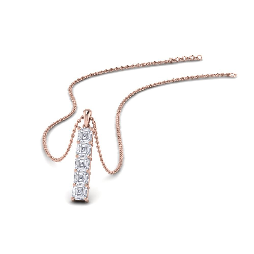 Vertical Bar Diamond Pendant Gift In 18K Rose Gold
