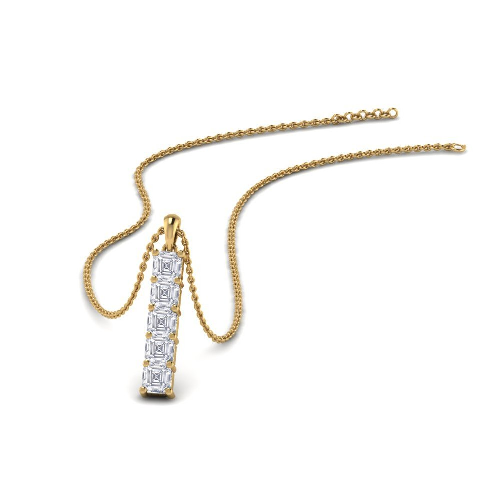 Vertical Bar Diamond Pendant Gift In 14K Yellow Gold