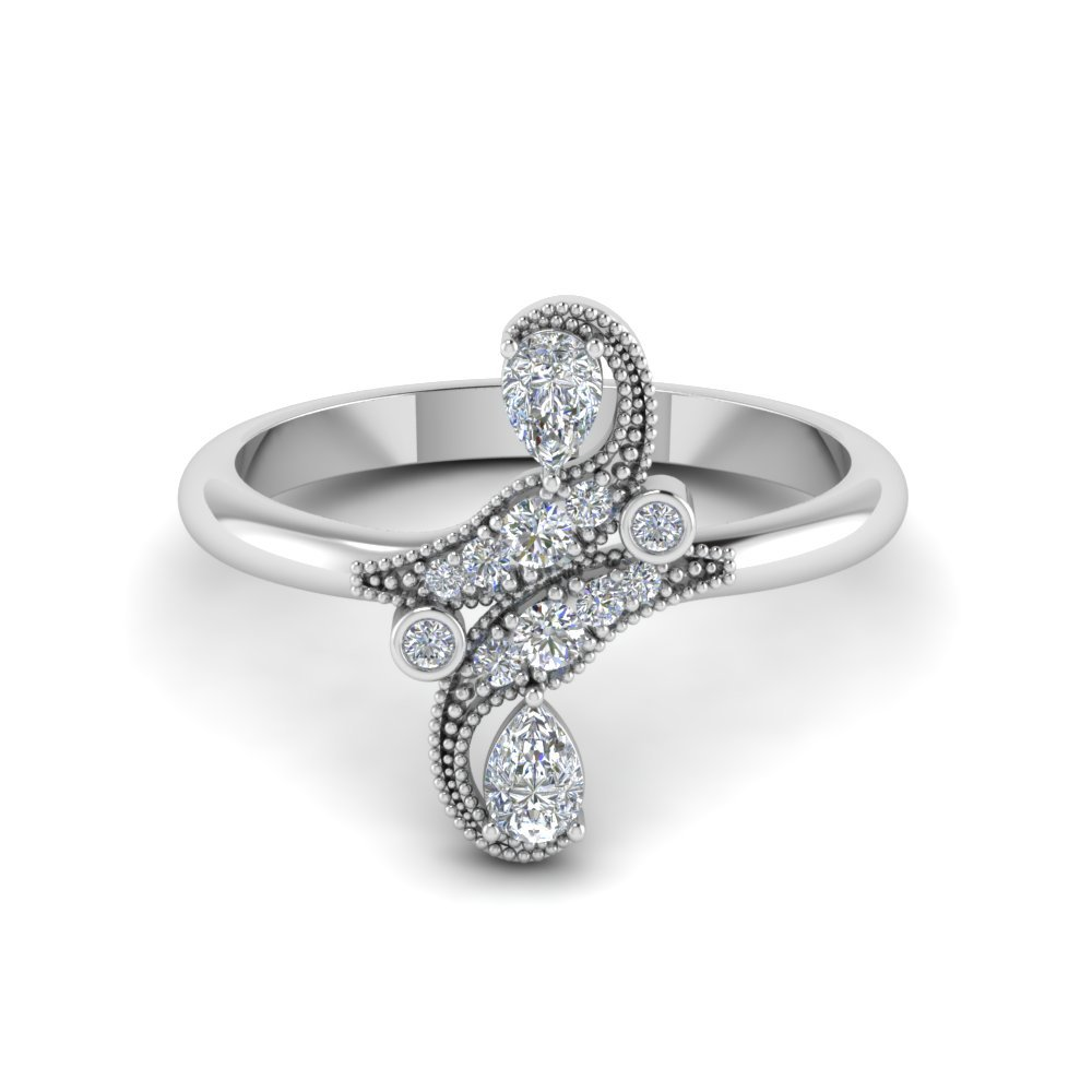 Victorian Diamond Ring In 14K White Gold