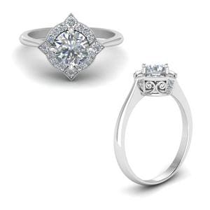 Victorian Halo Diamond Engagement Ring In 14K White Gold