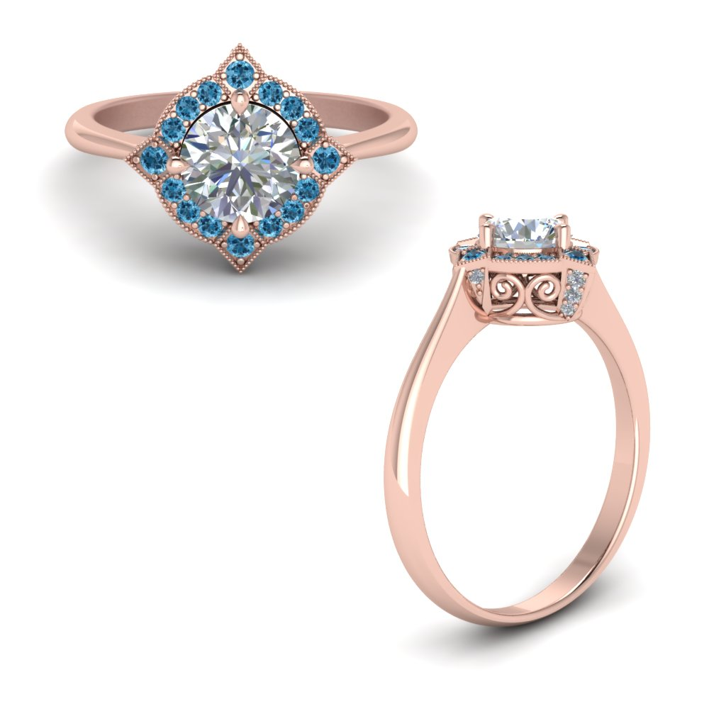 Victorian Halo Diamond Engagement Ring With Blue Topaz In 14K Rose Gold