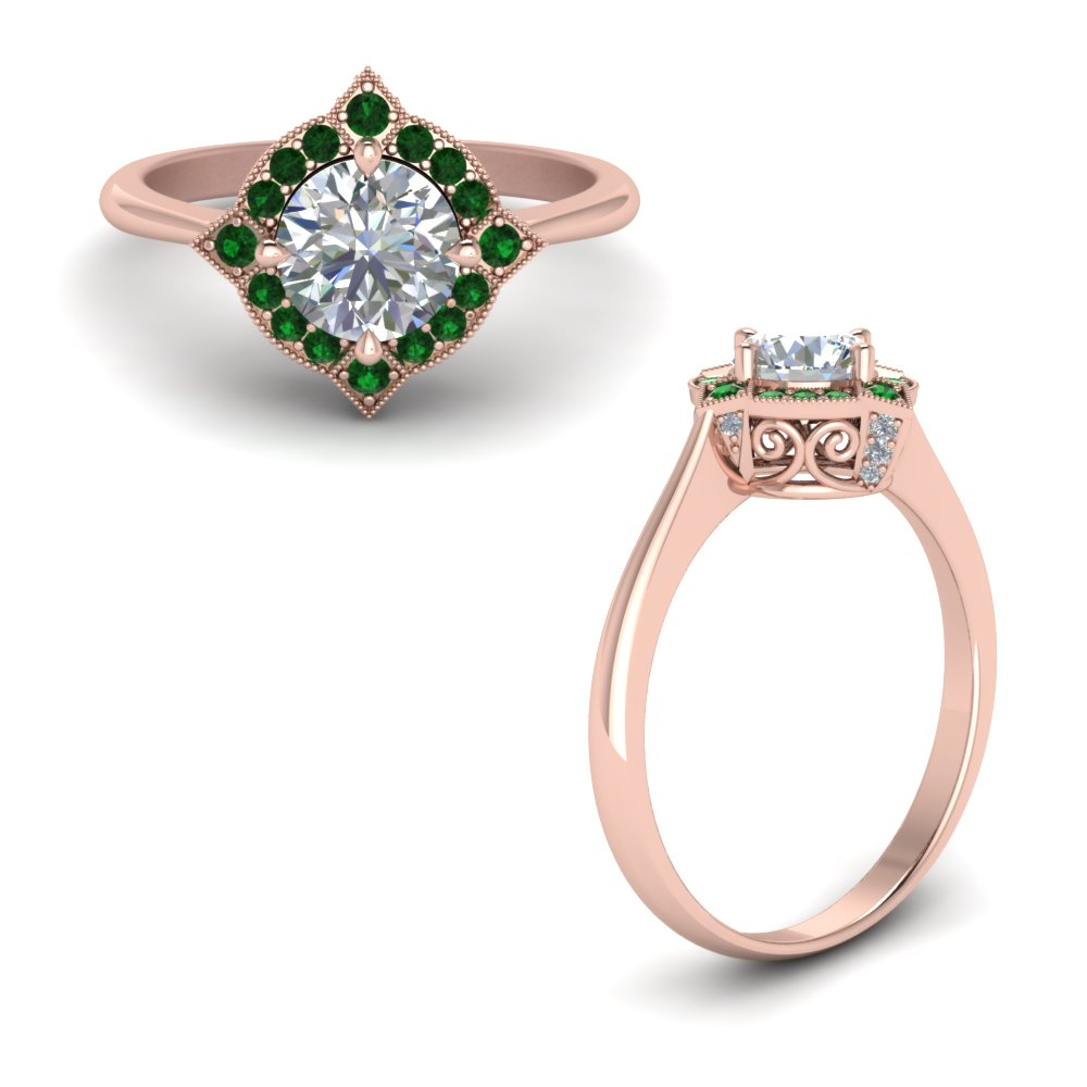 Victorian Halo Diamond Engagement Ring With Emerald In 18K Rose Gold