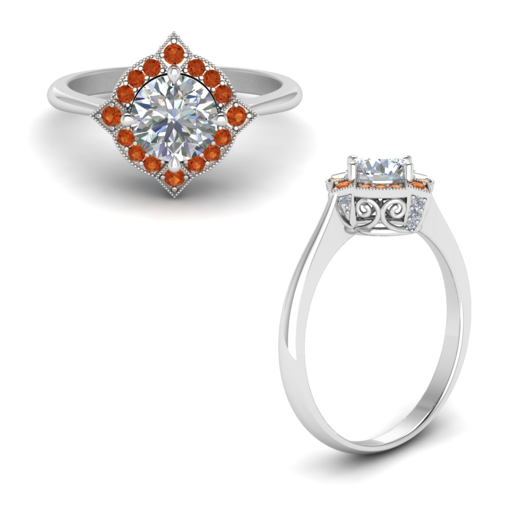 Victorian Halo Diamond Engagement Ring With Orange Sapphire In 14K White Gold