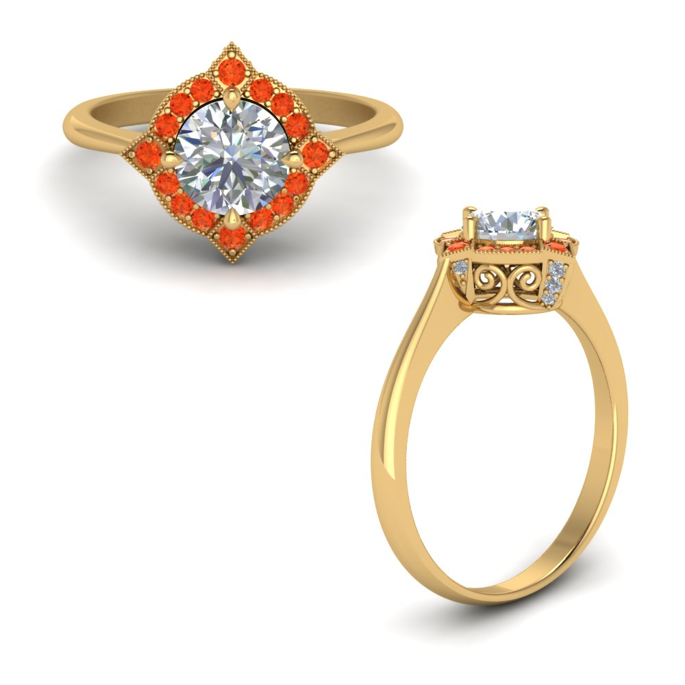 Victorian Halo Diamond Engagement Ring With Orange Topaz In 14K Yellow Gold