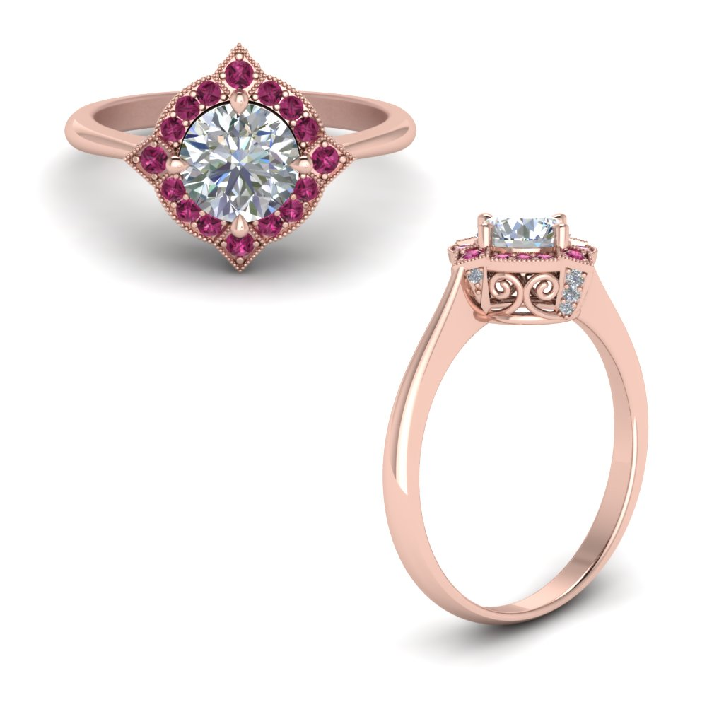 Victorian Halo Diamond Engagement Ring With Pink Sapphire In 14K Rose Gold