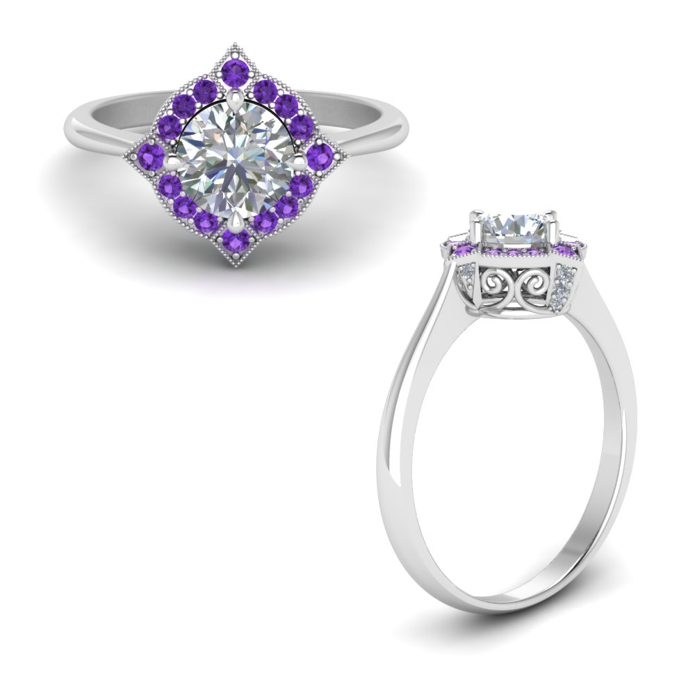 Victorian Halo Diamond Engagement Ring With Purple Topaz In 14K White Gold