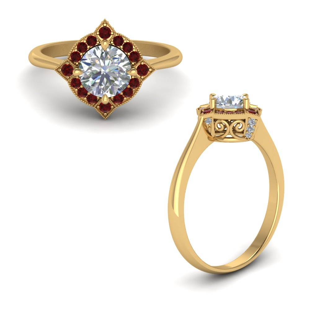 Victorian Halo Diamond Engagement Ring With Ruby In 18K Yellow Gold