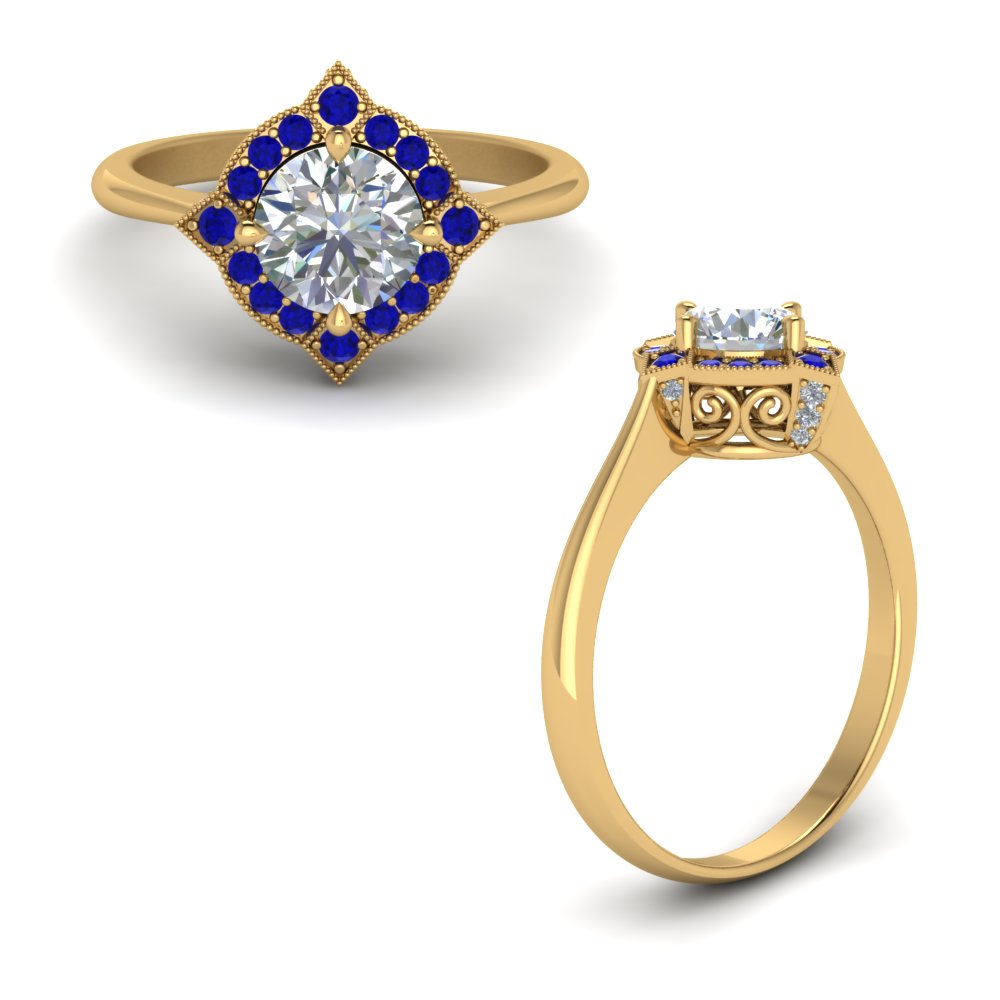 Victorian Halo Diamond Engagement Ring With Sapphire In 14K Yellow Gold