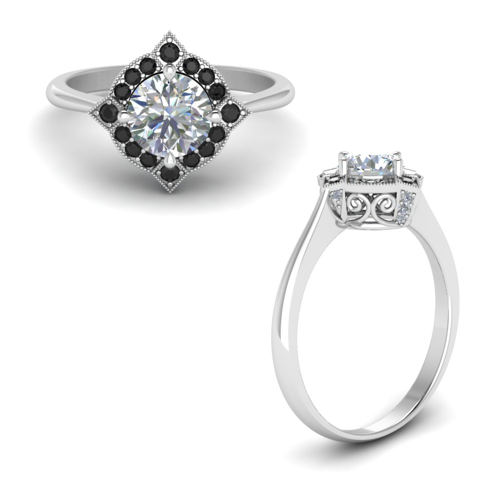 Victorian Halo Engagement Ring With Black Diamond In 18K White Gold
