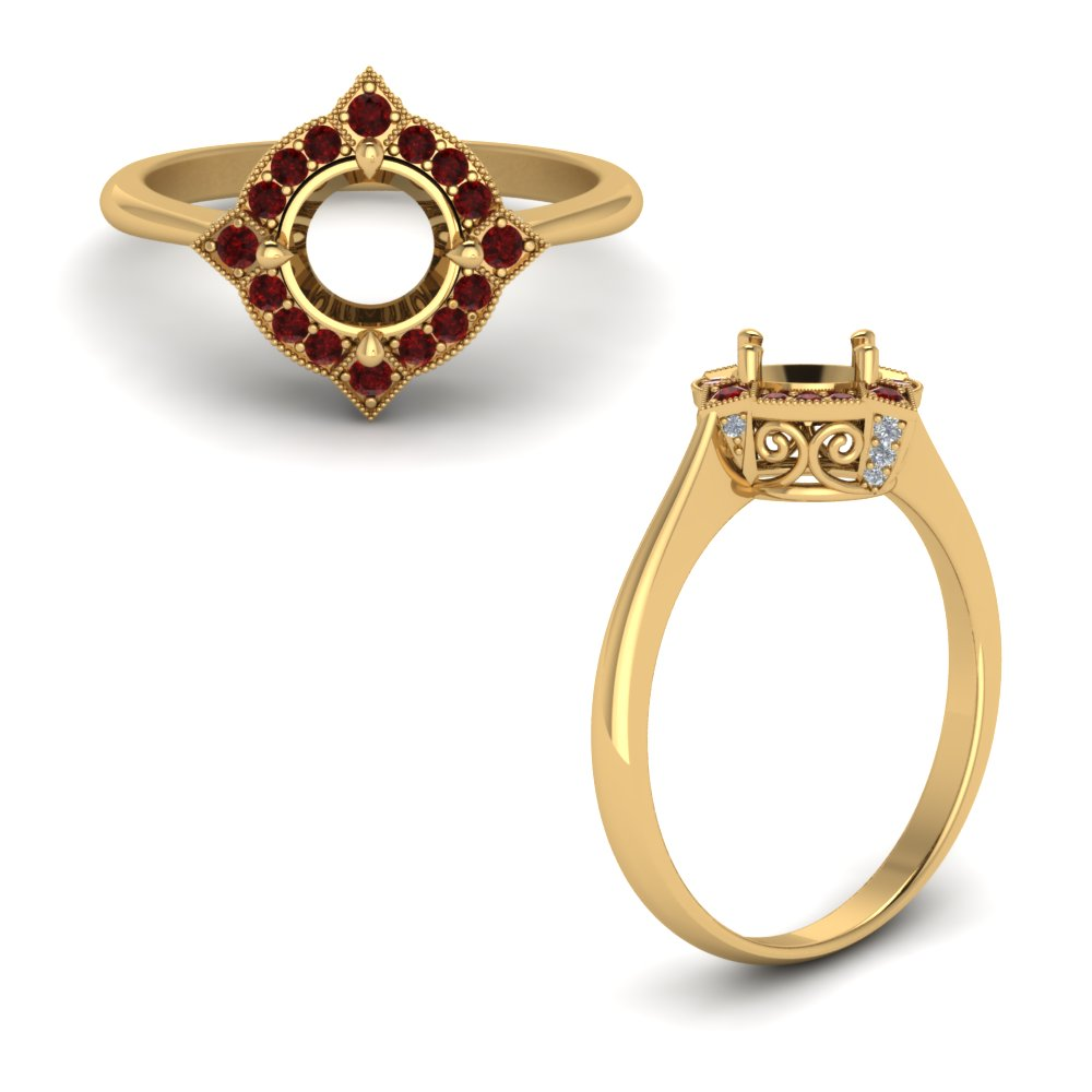 Victorian Halo Semi Mount Engagement Ring With Ruby In 14K Yellow Gold