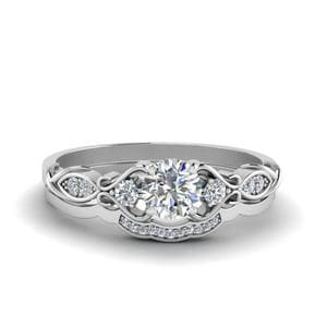 Victorian Style Round Cut Diamond Bridal Set In 14K White Gold
