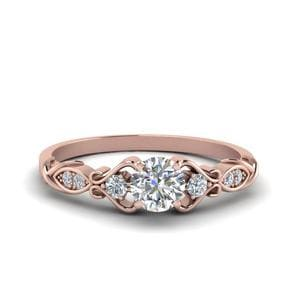 Victorian Style Round Cut Diamond Wedding Engagement Ring In 14K Rose Gold