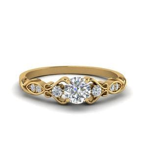Victorian Style Round Cut Diamond Wedding Engagement Ring In 14K Yellow Gold