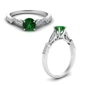 Vintage Cathedral Emerald Ring