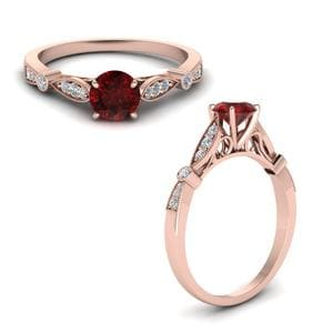 Vintage Cathedral Ruby Engagement Ring In 14K Rose Gold