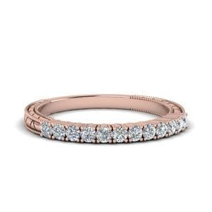 Vintage Delicate Diamond Wedding Band In 14K Rose Gold