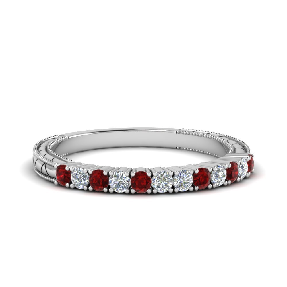 Vintage Delicate Diamond Wedding Band With Ruby In 14K White Gold