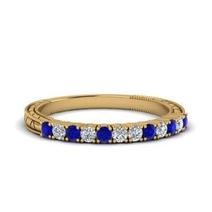 Vintage Delicate Diamond Wedding Band With Sapphire In 14K Yellow Gold