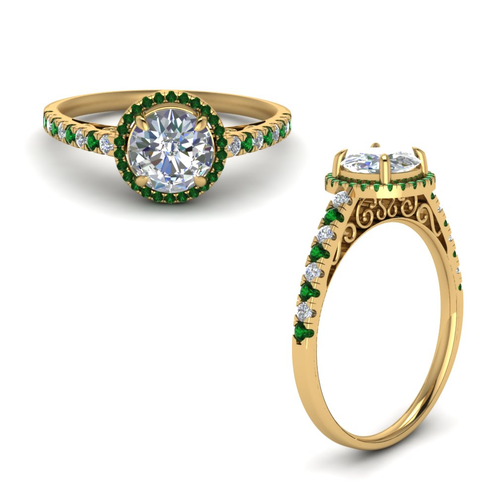 Vintage Delicate Emerald Halo Diamond Engagement Ring In 18K Yellow Gold